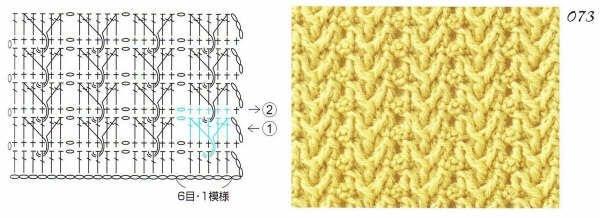 Рельефный узор крючком косы схема