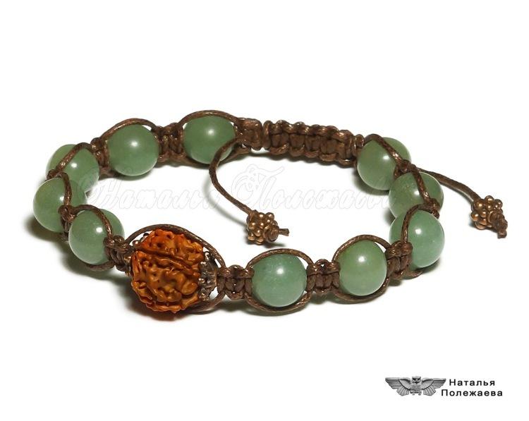 Изображение Браслет МАНТРА (ШАМБАЛА, v.346) Стильный оригинальный браслет из пятиликой рудракши и натурально из
