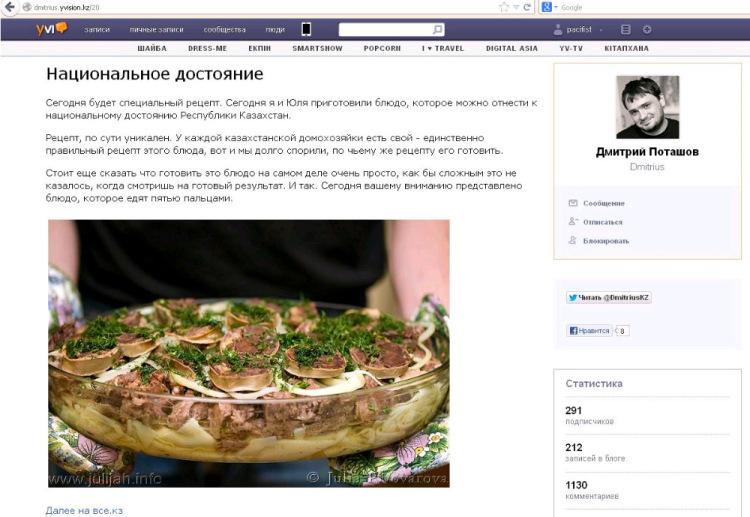 Всё о кулинарном казнете. Часть 1. Блоги