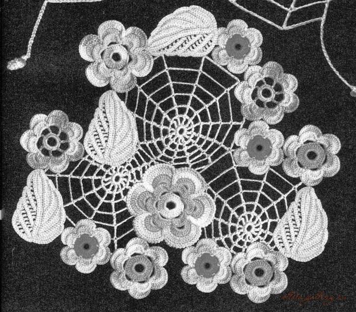 """爱尔兰花边花型  14:""""蛛网""""的应用 - maomao - 我随心动"""