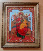 """Икона Божьей Матери Всецарица от  """"Чаривна Мыть """"В набор входит : бисер (Чехия)14 цвета + 1 цвет бусины,ткань для..."""