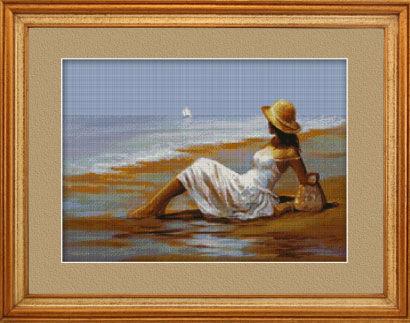 Вышивка крестом девушки у моря